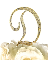 Sparkling Collection Rhinestone Monogram Cake Topper in Gold - Letter D