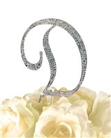 Sparkling Collection Rhinestone Monogram Cake Topper in Silver - Letter D