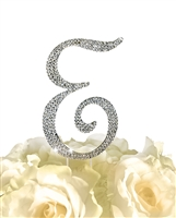 Sparkling Collection Rhinestone Monogram Cake Topper in Silver - Letter E