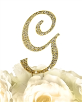 Sparkling Collection Rhinestone Monogram Cake Topper in Gold - Letter G