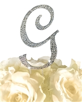 Sparkling Collection Rhinestone Monogram Cake Topper in Silver - Letter G