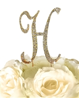 Sparkling Collection Rhinestone Monogram Cake Topper in Gold - Letter H