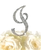 Sparkling Collection Rhinestone Monogram Cake Topper in Silver - Letter I