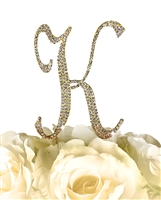 Sparkling Collection Rhinestone Monogram Cake Topper in Gold - Letter K