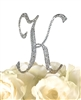 Sparkling Collection Rhinestone Monogram Cake Topper in Silver - Letter K