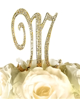 Sparkling Collection Rhinestone Monogram Cake Topper in Gold - Letter M