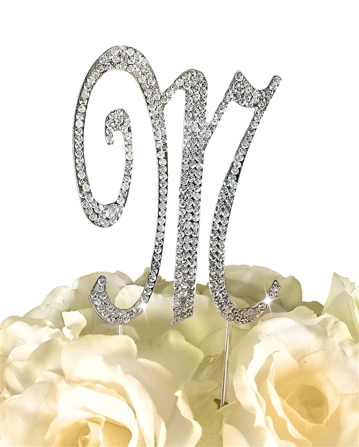 Sparkling Collection Rhinestone Monogram Cake Topper in Silver - Letter M