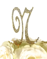 Sparkling Collection Rhinestone Monogram Cake Topper in Gold - Letter N