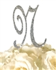 Sparkling Collection Rhinestone Monogram Cake Topper in Silver - Letter N