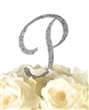 Sparkling Collection Rhinestone Monogram Cake Topper in Silver - Letter P