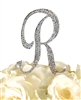 Sparkling Collection Rhinestone Monogram Cake Topper in Silver - Letter R