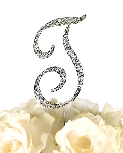 Sparkling Collection Rhinestone Monogram Cake Topper in Silver - Letter T