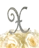 Sparkling Collection Rhinestone Monogram Cake Topper in Silver - Letter X