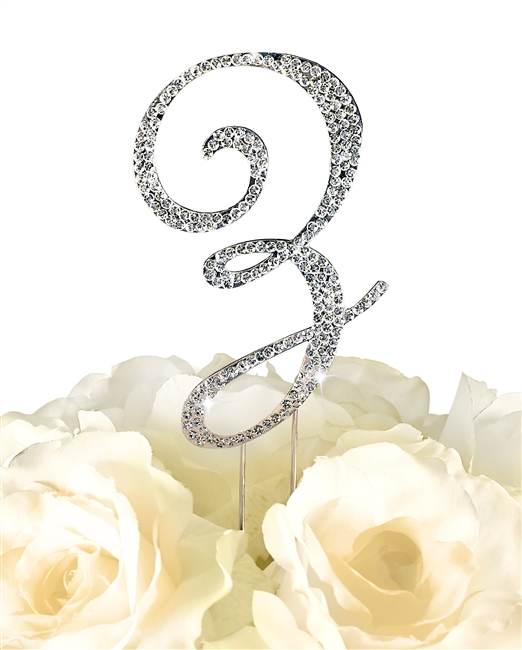 Sparkling Collection Rhinestone Monogram Cake Topper in Silver - Letter Z
