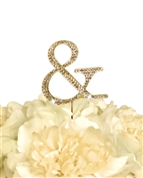 Unik Occasions Collection Rhinestone Monogram Cake Topper in Gold - Ampersand