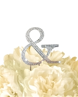 Unik Occasions Collection Rhinestone Monogram Cake Topper in Silver - Ampersand