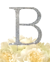 Unik Occasions Collection Rhinestone Monogram Cake Topper in Silver - Letter B