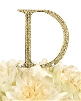 Unik Occasions Collection Rhinestone Monogram Cake Topper in Gold - Letter D