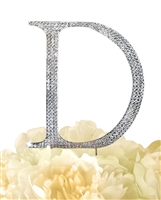 Unik Occasions Collection Rhinestone Monogram Cake Topper in Silver - Letter D