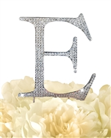 Unik Occasions Collection Rhinestone Monogram Cake Topper in Silver - Letter E