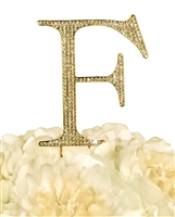 Unik Occasions Collection Rhinestone Monogram Cake Topper in Gold - Letter F