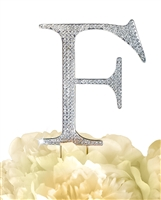 Unik Occasions Collection Rhinestone Monogram Cake Topper in Silver - Letter F