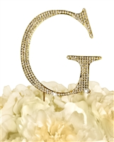 Unik Occasions Collection Rhinestone Monogram Cake Topper in Gold - Letter G