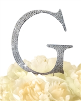 Unik Occasions Collection Rhinestone Monogram Cake Topper in Silver - Letter G
