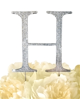 Unik Occasions Collection Rhinestone Monogram Cake Topper in Silver - Letter H