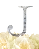Unik Occasions Collection Rhinestone Monogram Cake Topper in Silver - Letter J
