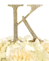 Unik Occasions Collection Rhinestone Monogram Cake Topper in Gold - Letter K