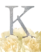 Unik Occasions Collection Rhinestone Monogram Cake Topper in Silver - Letter K