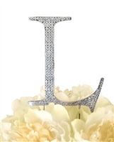 Unik Occasions Collection Rhinestone Monogram Cake Topper in Silver - Letter L