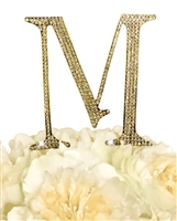 Unik Occasions Collection Rhinestone Monogram Cake Topper in Gold - Letter M