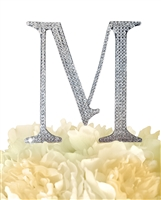 Unik Occasions Collection Rhinestone Monogram Cake Topper in Silver - Letter M