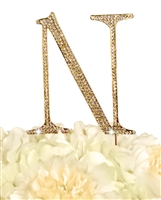 Unik Occasions Collection Rhinestone Monogram Cake Topper in Gold - Letter N