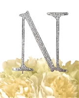 Unik Occasions Collection Rhinestone Monogram Cake Topper in Silver - Letter N