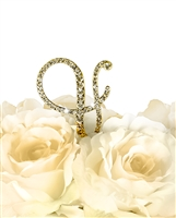 Victorian Collection Rhinestone Monogram Cake Topper in Gold - Ampersand