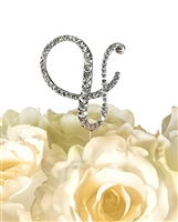 Victorian Collection Rhinestone Monogram Cake Topper in Silver - Ampersand