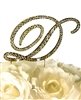 Victorian Collection Rhinestone Monogram Cake Topper in Gold - Letter D