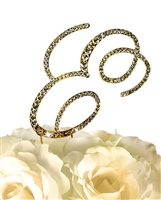 Victorian Collection Rhinestone Monogram Cake Topper in Gold - Letter E