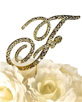 Victorian Collection Rhinestone Monogram Cake Topper in Gold - Letter F