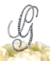 Victorian Collection Rhinestone Monogram Cake Topper in Silver - Letter G
