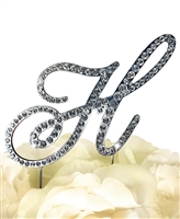 Victorian Collection Rhinestone Monogram Cake Topper in Silver - Letter H