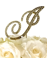 Victorian Collection Rhinestone Monogram Cake Topper in Gold - Letter I