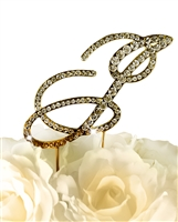 Victorian Collection Rhinestone Monogram Cake Topper in Gold - Letter J