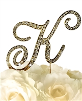Victorian Collection Rhinestone Monogram Cake Topper in Gold - Letter K