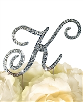 Victorian Collection Rhinestone Monogram Cake Topper in Silver - Letter K