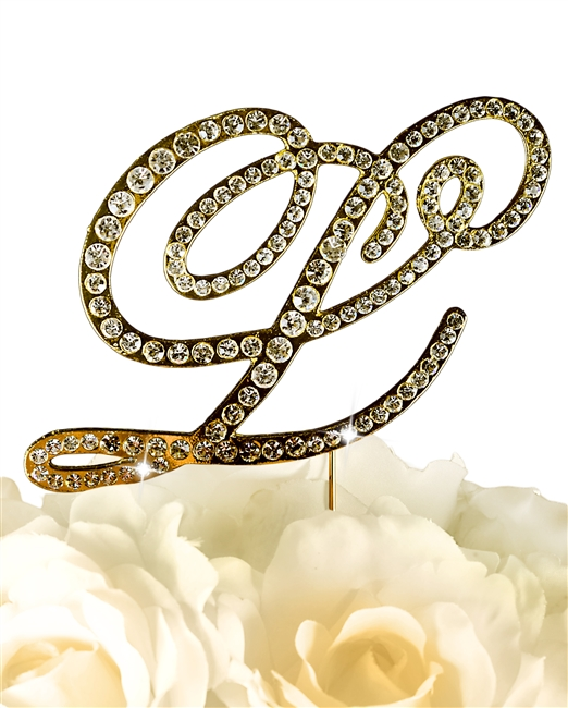 Victorian Collection Rhinestone Monogram Cake Topper in Gold - Letter L