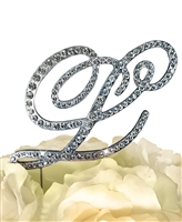 Victorian Collection Rhinestone Monogram Cake Topper in Silver - Letter L
